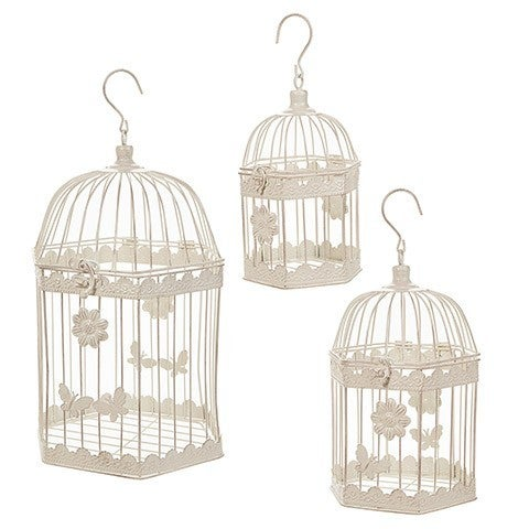 White Bird Cage: Metal, Assorted Sizes, 3 Pieces
