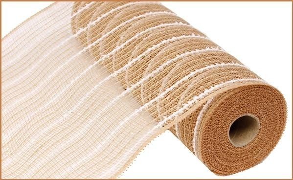"10.5""X10yd Cotton Drift/Poly/Jute Mesh  Natural/White"