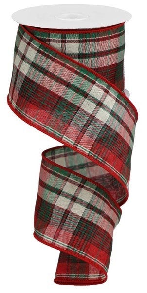 """2.5""""X10yd Woven Plaid Color: Red/Emerald/Ivory/Black"""