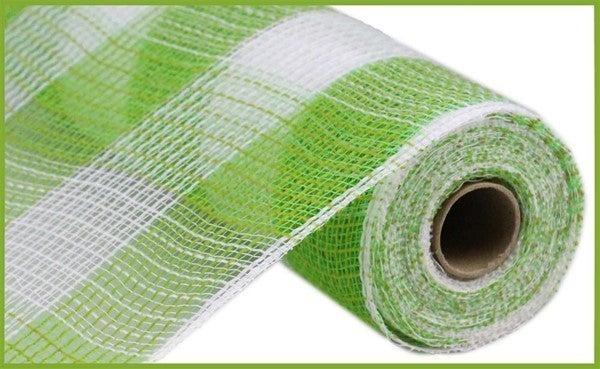 """10.5""""X10yd Faux Jute/Pp Large Check Fresh Green/White"""