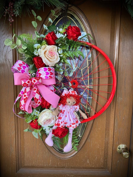 Red Bicycle Valentines Day Wreath
