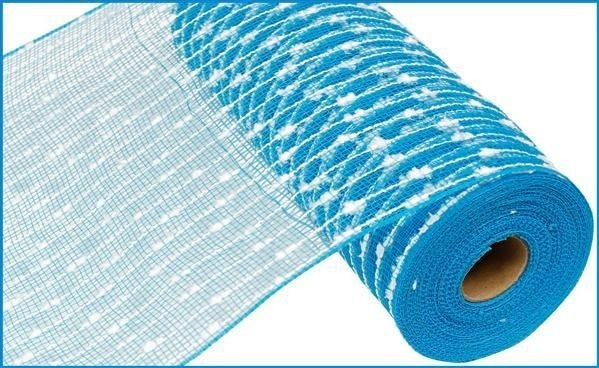 "10.5""X10yd Cotton Ball/Poly Mesh Turquoise/White"