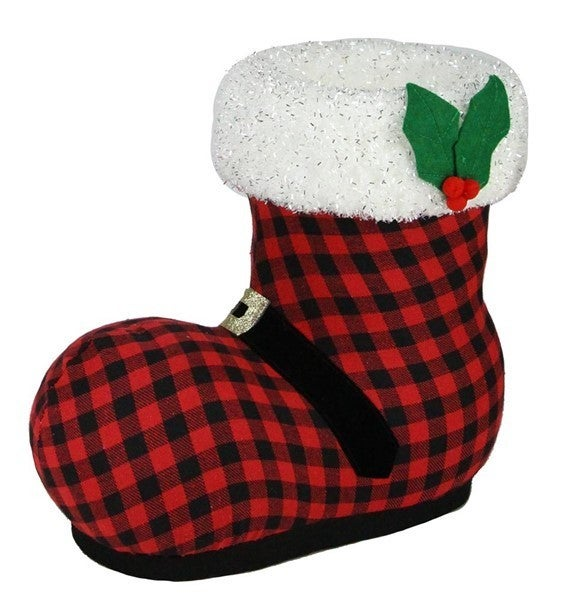 """15""""L Check Fabric/Glitter Santa Boot"""