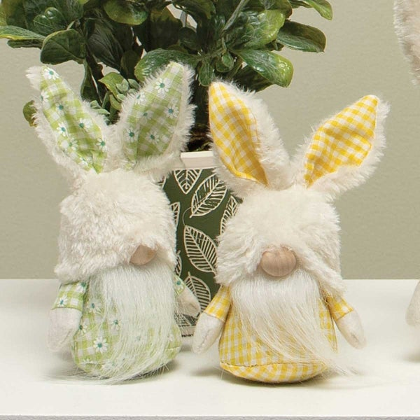 GINGHAM PETITE BUNNY GNOME WITH FUZZY BUNNY HAT, WOOD NOSE, WHITE BEARD, ARMS AND BUNNY TAIL.