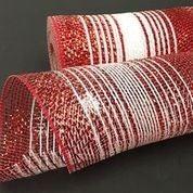 "Red White Mixed Metallic Striped Mesh 10""x10yd"
