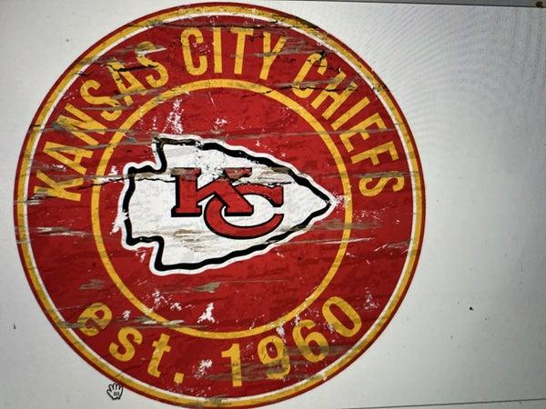 "12"" Destressed Wooden NFL Circle Sign - Kansas City Chiefs"