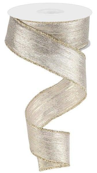"1.5""X10yd Vertical Metallic Stripe Champagne"