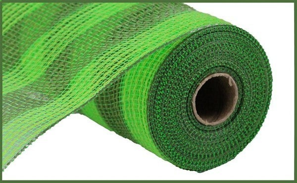 "10.5""X10yd Faux Jute/Pp Small Stripe Fresh Green/Moss"