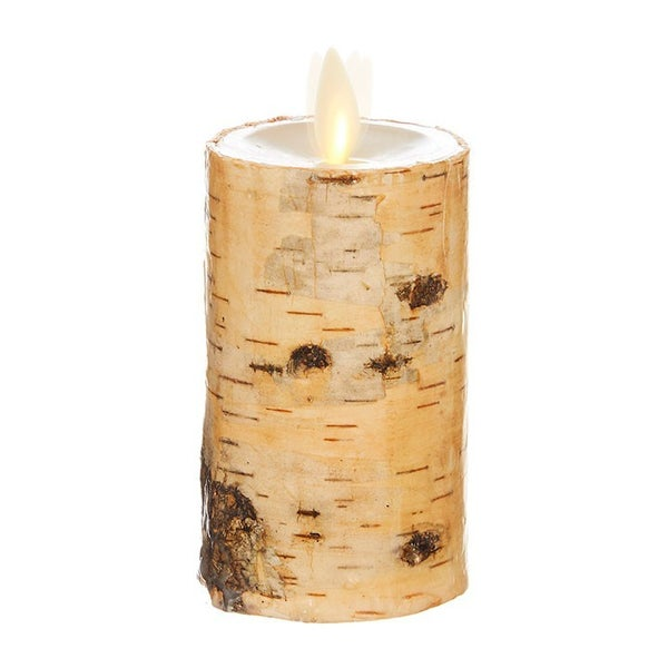"2""X4"" Moving Flame Birch Wrapped Pillar Candle"