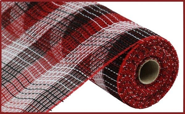 "10.5""X10yd Pp/Faux Jute Small Check Mesh Red/White/Black"