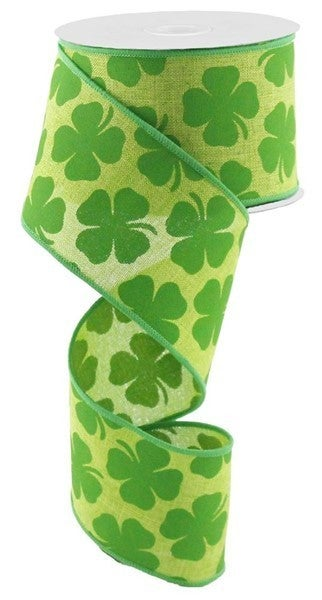 "2.5""X10yd Shamrock On RoyalColor: Fresh Green/Kelly Green"