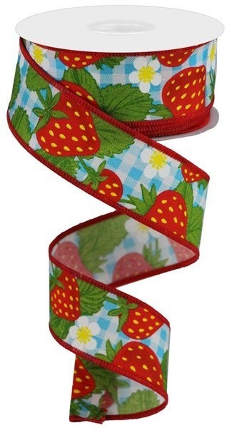 """1.5""""X10yd Strawberries On Woven Check Color: Lt Blue/Multi/White"""
