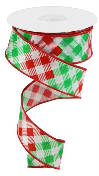 "1.5""X10yd Diagonal Check Color: White/Red/Emerald"