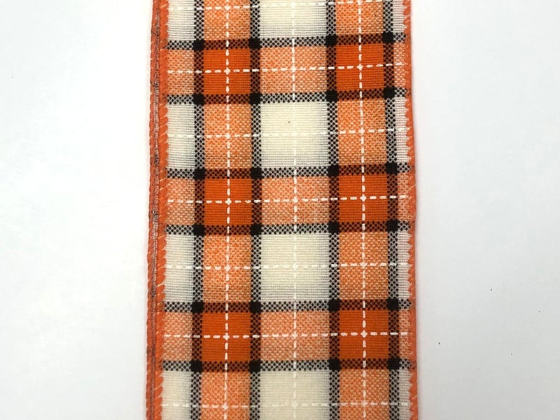 "CREAM-ORANGE-BLK SQUARE PLAID 2.5""X10YD"