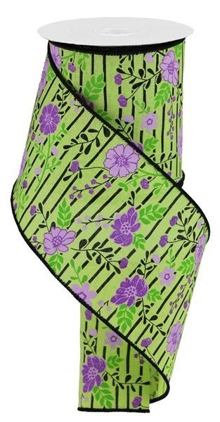 "4""X100ft Floral Lines On Royal Color: Bright Green/Lavender"