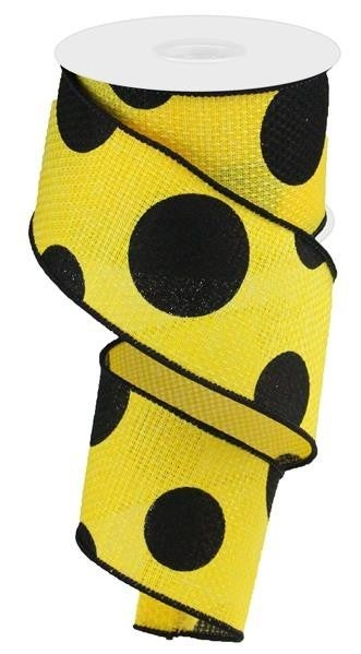 "2.5""X10YD LARGE POLKA DOT/CROSS ROYAL SUN YELLOW/BLACK"