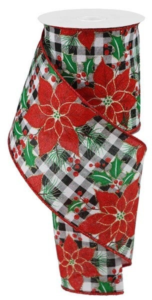 "4""X10yd Poinsettia/Holly On Check White"