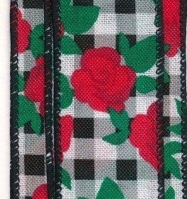 "BLK-WHT GINGM/RED ROSES, 2.5""X10Y"
