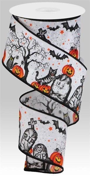 """2.5""""X10yd Graveyard/Pumpkin White"""