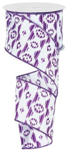 """2.5""""X10yd Mini Aztec Ikat 1 Purple"""
