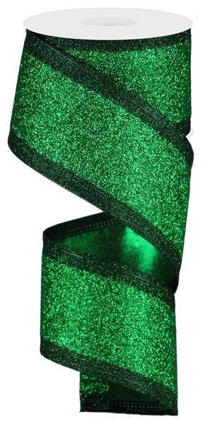 "2.5""X10yd Glitter Ribbon Green/Emerald"