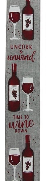 "2.5""X10yd Wine Bottle On Royal Color: Lt Grey/White/Burg"