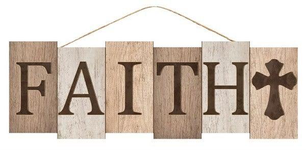 """14""""L X 4.75""""H Faith Block Sign"""