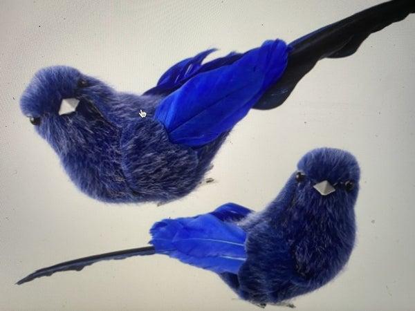 "5"" FAUX FUR/FEATHER BIRD CLIP ORNAMENT Set of 2 (MIDNIGHT BLUE)"