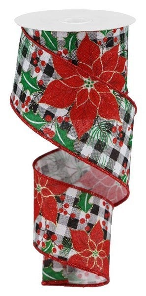 "2.5""X10yd Poinsettia/Holly On Check White"