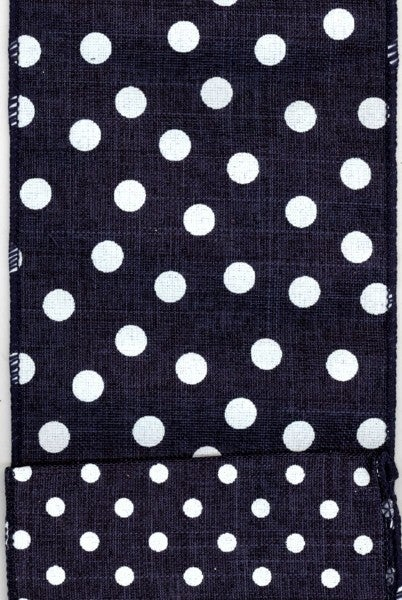 "4"" x 10yds linen with large/small white dots on back, navy"