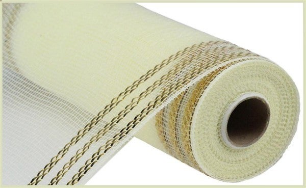 "10.25""X10yd Border Stripe Metallic Mesh Cream w Gold foil"