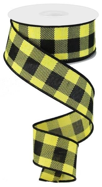 "1.5""X10YD CHECK ON ROYAL YELLOW/BLACK"