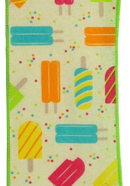 "2.5""X10yd Popsicles On Royal Color: Crm/Pnk/Ylw/Org/Trq/Lime"