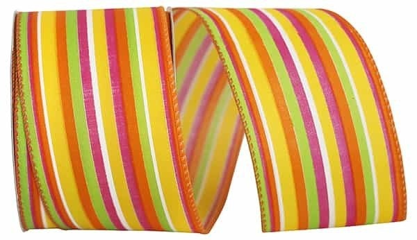 "STRIPES BRIGHT COMBO WIRED EDGE Yellow Multi 2.5""x20yd"