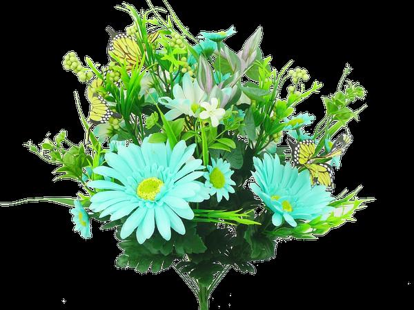 Gerber Daisy Butterfly Bush x 14 H19 Teal