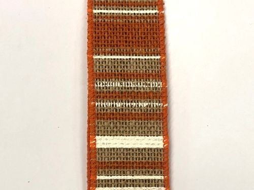 "Faux Burlap/Orange-Cream Stripes 1.5""x10yd"