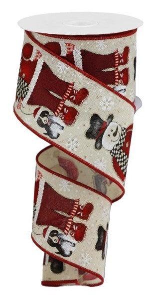"""2.5""""X10yd Santa Snowman W/Dog Cream"""