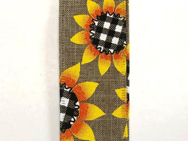 "Nat Linen/Sunflower Plaid Centers 1.5""x50yd"