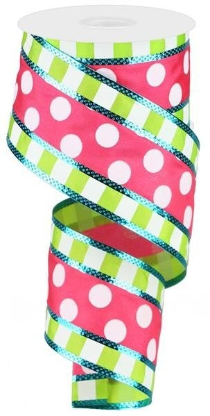 "2.5""X10YD 3 IN 1 POLKA DOT W/STRIPES Hot Pink/Lime/White/Turq"