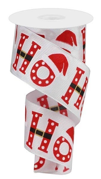 "2.5""X10yd Glitter Ho Ho Ho Color: White/Red/Black"