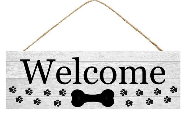 """15""""L X 5""""H Welcome W/Dog Bone/Paws Sign"""