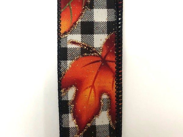 "Black-Cream Plaid/Leaves 1.5""x10yd"