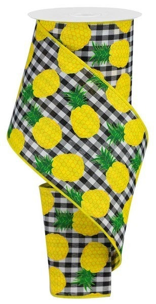 """4""""X10yd Pineapples On Woven Check Black/White"""