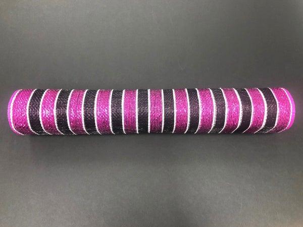 21'x10yd Striped Mesh Fuchsia/Black