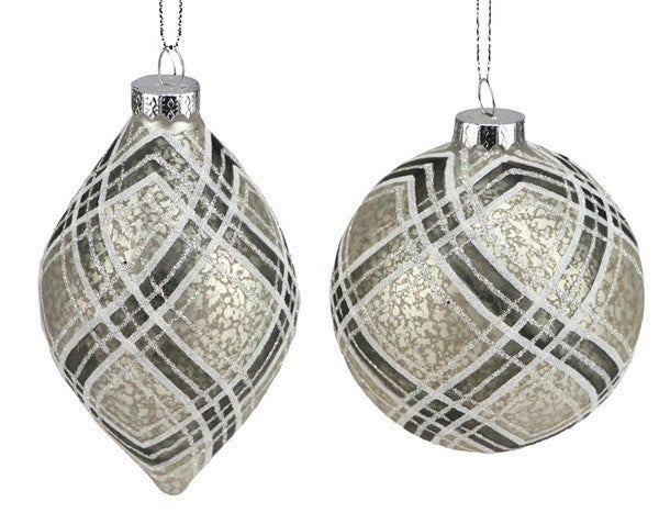"""4-5.5"""" Plaid Glass Ball/Finial"""