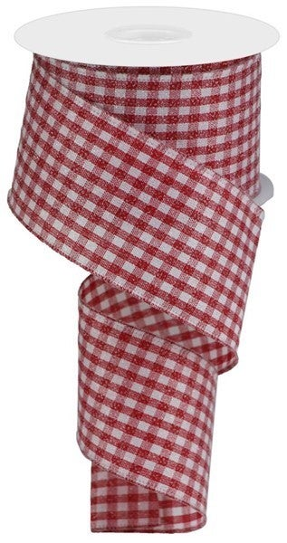 """2.5""""X10yd Glitter On Woven Gingham Check Red/White"""