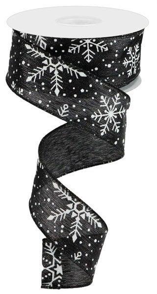 """1.5""""X10yd Snowflakes/Snow/Met Stripe Black/Silver"""