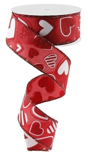 """1.5""""X10yd Patterned Hearts Color: Red/White"""
