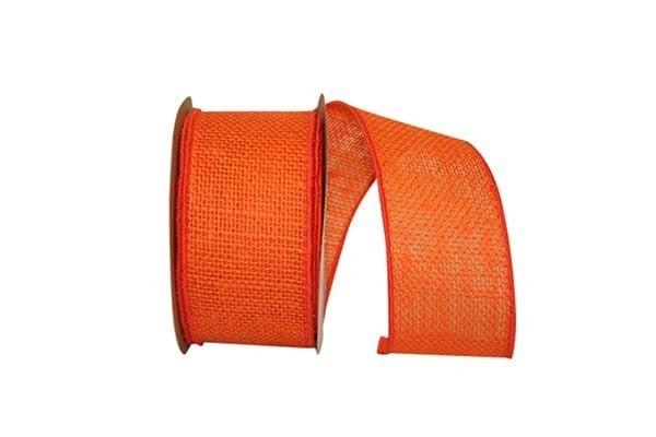 BUR 5 - Burlap Colored Wired Edge, Orange, 2-1/2 Inch, 10 Yards
