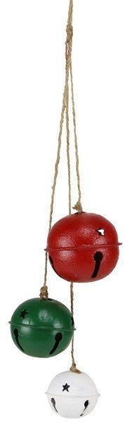 "21""L Jingle Bell Cluster Ornament Color: Antique Red/White/Emerald"